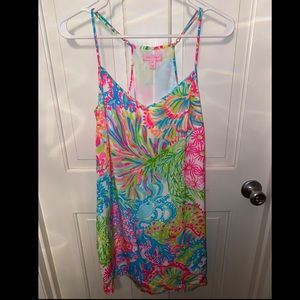 LILLY PULITZER DUSK SILK DRESS LOVER'S CORAL M